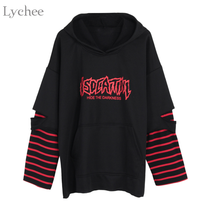 Lychee Harajuku Punk Hooded Sweatshirt Stripe Patchwork Hole Long Sleeve Hoodies Casual Loose  Streetwear Tracksuit
