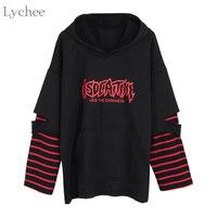 Lychee Harajuku Punk Hooded Sweatshirt Stripe Patchwork Hole Long Sleeve Hoodies Casual Loose Streetwear Tracksuit