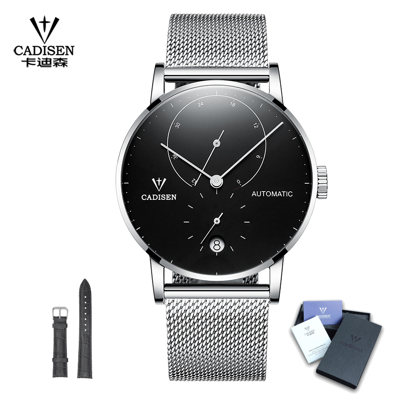CADISEN Luxury Automatic Mechanical Watch Men Full Steel Business Waterproof 50m Top Brand Mens Watches Fashion Sport Male Clock sollen mens automatic mechanical watch diamond gold full steel sapphire waterproof luminous male luxury top brand watches reloj