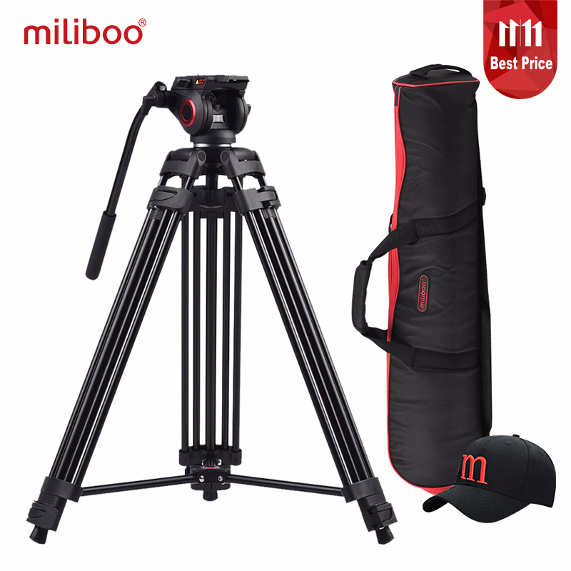 miliboo MTT601A Aluminum Heavy Duty Fluid Head Camera Tripod for Camcorder/DSLR Stand Professional Video Tripod цена 2017