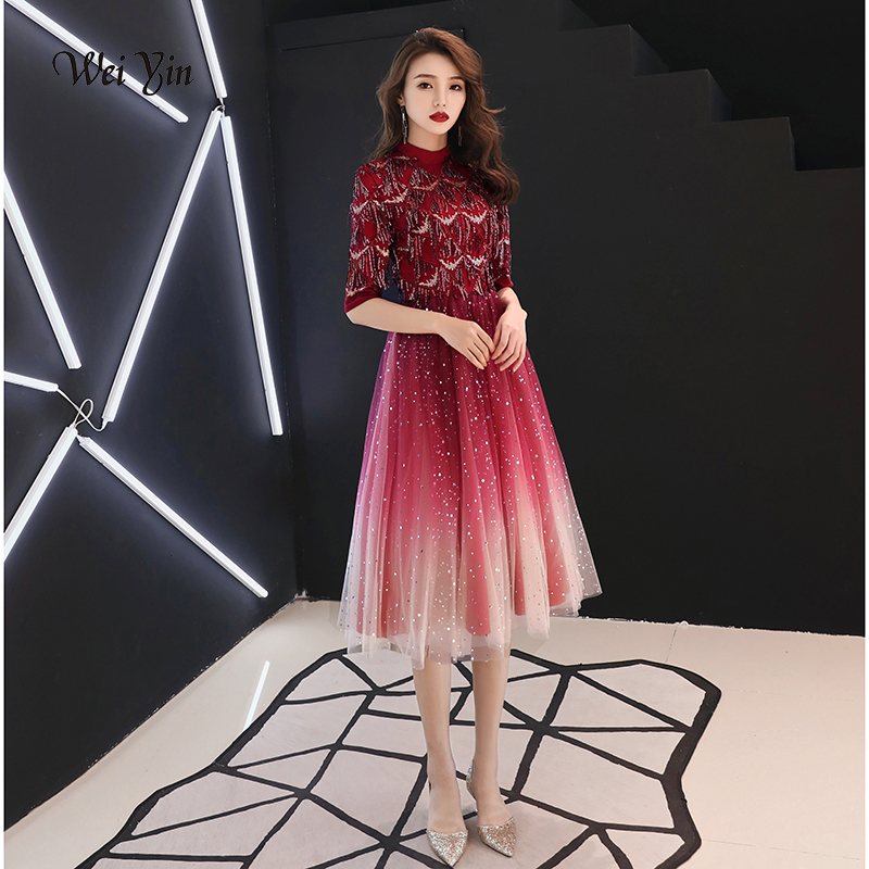 weiyin 2019 Half Sleeves Short   Evening     Dress   Wine Red Sequins High-neck Formal Party   Dress   WY1139