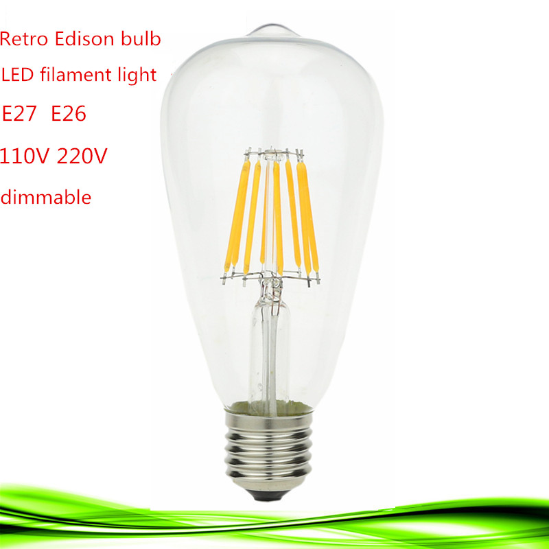 1X 2016 ST64 LED COB filament Retro Edison bulb lamp dimmable 2W 4W 6W 8W E27 E26 110V 220V White/Warm White Lampada ball light high brightness 1pcs led edison bulb indoor led light clear glass ac220 230v e27 2w 4w 6w 8w led filament bulb white warm white