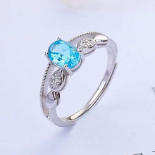 gem fine jewelry fashionable 925 sterling silver oval natural blue topaz adjustable ring for women engagement party gift artificial gem oval ring