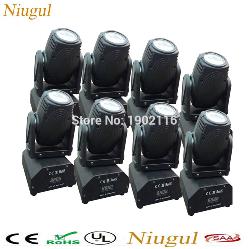 8pcs/lot Free shipping RGBW led Moving Head Light/10W Mini Beam/Led disco Lights/night club decor beam/ laser/DMX stage lighting