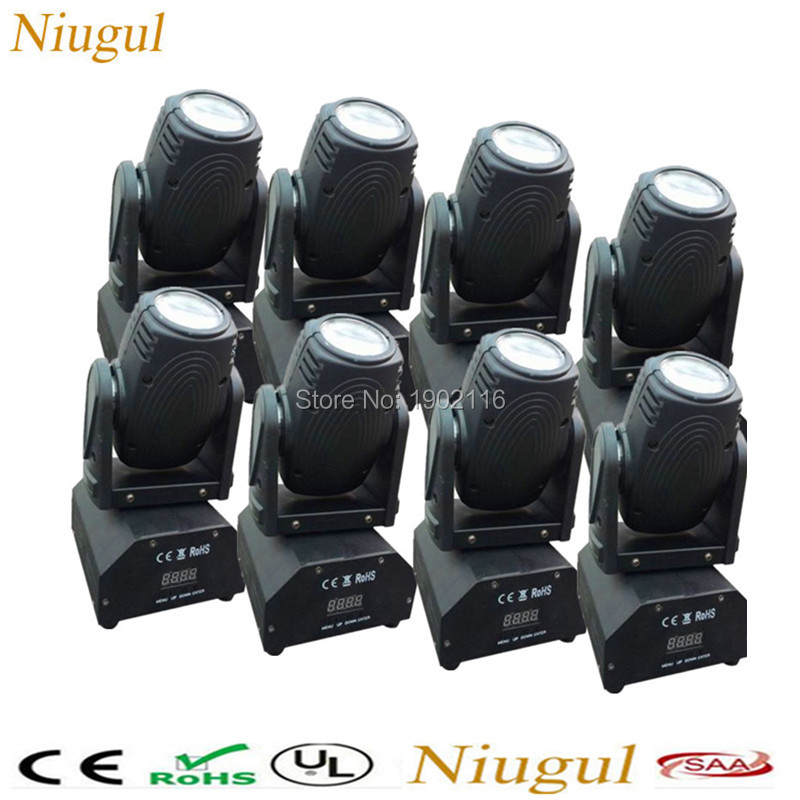 8pcs/lot RGBW 4in1 LED Beam Moving Head Light/10W Mini Beam/LED Disco Lights/Night Club Decor Beam/Laser/DMX512 Stage Lighting 8pcs lot led light source 7pcs 10w 4 in 1 rgbw mini led moivng head wash stage light for ktv disco lighting for night club