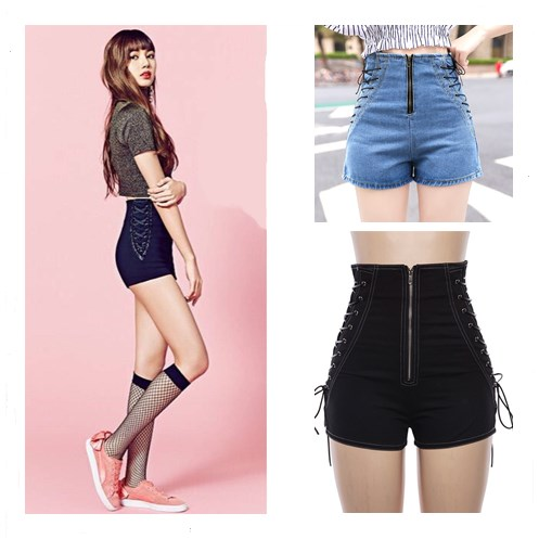 Kpop Blackpink Lisa Same Black Sexy High Waist Slim Shorts Women Summer Korean Streetwear Harajuku Design Zipper Denim Shorts