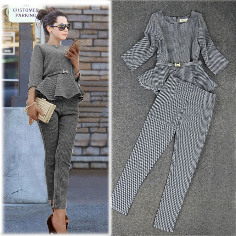 New 19 Spring Autumn Fashion Women's Business Pants Suits Houndstooth Checker Pattern Ruffles Suits For Women 2 Pieces Set 4