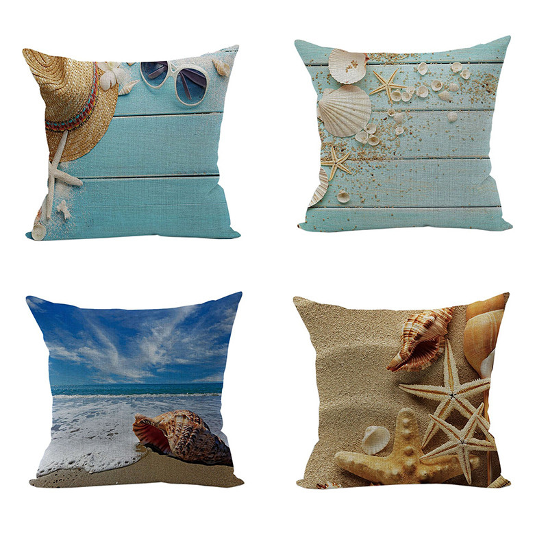 2016New Design Mediterranean Summer Sea Beach Starfish Shell Cushion Covers 18Decorative dining area guest room Throw Pillows