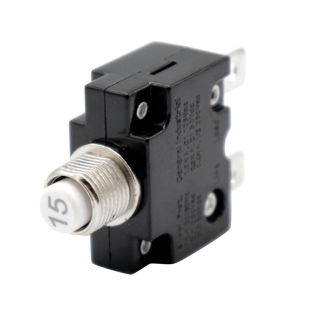 Push Button Reset Only Screw Terminals Resettable Circuit Breaker Fuse Holder- 15 Amps For Automotive Industrial Marine