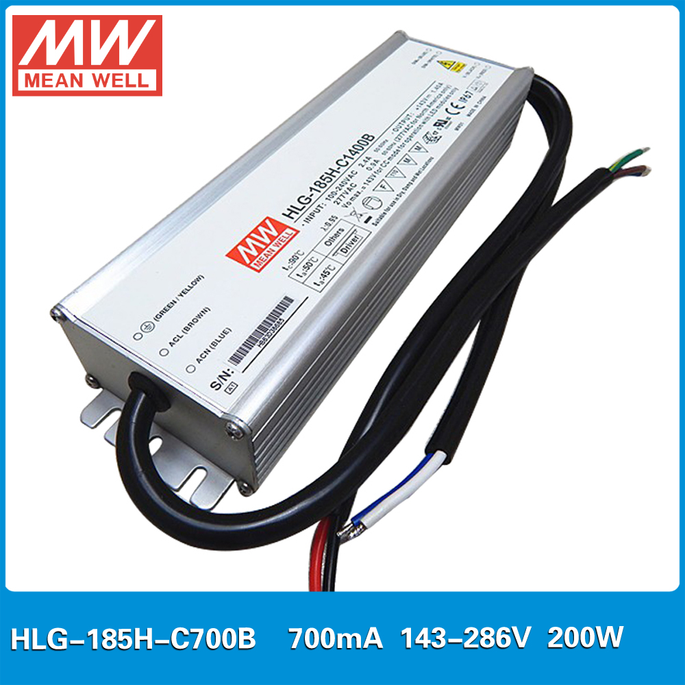 MEAN WELL constant current LED Power supply HLG-185H-C700B 143-286V 700mA 200W PFC waterproof dimming LED Driver 700mA 90w led driver dc40v 2 7a high power led driver for flood light street light ip65 constant current drive power supply