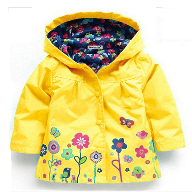 2-6 yrs Baby Girls Toddler hooded 2018 spring Autumn Girls Jackets casual Kids Outwear flower pattern Waterproof Children Coat 5