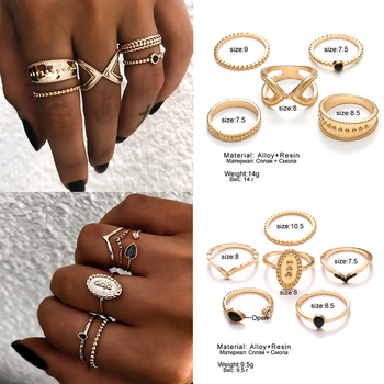 IPARAM Bohemian Vintage Gold Crescent Geometric Joint Ring Set 3