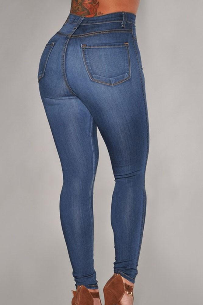 bcc5c14043ee Blue Medium Wash Denim High-Waist Skinny Jeans