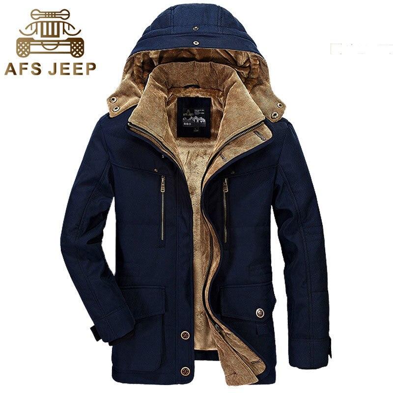 Afs Jeep Winter New Parkas Men Thick Coats Jackets Casual Fashion Warming Multi-Pocket Drop Shipping Brand Clothes Jackets Coats