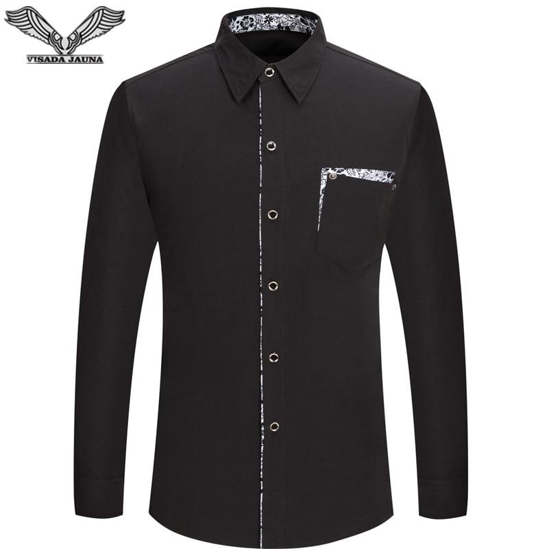 VISADA JAUNA 2017 Nouvelle Arrivée Hommes Chemises À Manches Longues Mode Casual Marque Vêtements Camisa Social Masculina Plus La Taille N1376