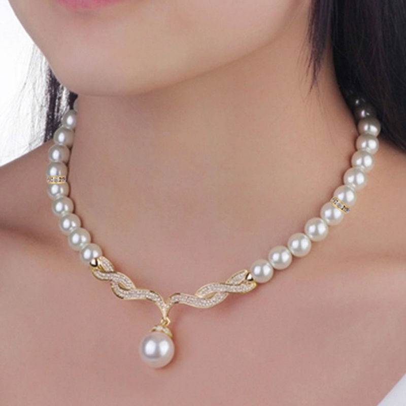 2017 New Elegant Wedding Jewelry Sets Imitation Pearl Necklace Earrings Gold Color Bridesmaid Bridal Ca017 In From