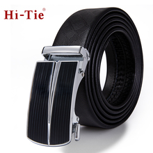 PD-2116 Hi-Tie Business Designer Genuine Leather Belt Male Automatic Buckle Black 160cm Long Wide Mens Trouser Charm Belts