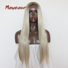 Maycaur Hair Middle Part Long Straight Hair Lace Wigs Gluele