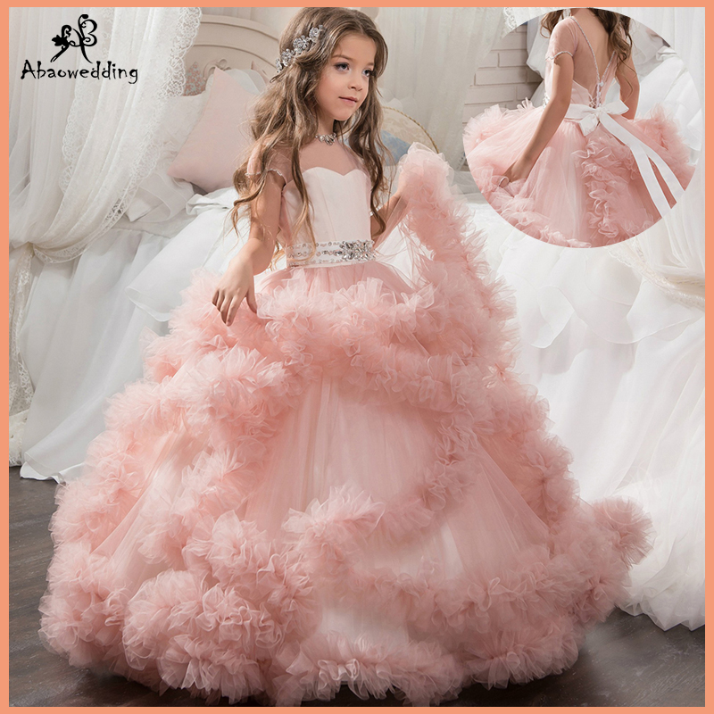 Aibaowedding Fancy Puffy Pink Pageant Dresses for Girls Long Kids Ball Gowns Vestido de Tulle Flower
