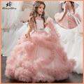 Aibaowedding Fantasia Inchado Rosa Pageant Vestidos para Meninas Vestidos De Crianças Bola Vestido de Tule Vestidos Da Menina de Flor para o Casamento