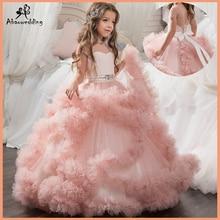 Aibaowedding מפואר נפוח ורוד תחרות שמלות לנערות ארוך ילדים כדור כותנות Vestido דה טול פרח ילדה שמלות לחתונה