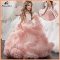 Aibaowedding fantasia inchado rosa pageant vestidos para meninas longo crianças vestidos de baile tule vestidos da menina flor para o casamento