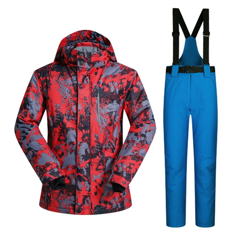 Prix pour Hiver ski costume hommes coupe-vent imperméable épaissir respirant ski veste et pantalon ensembles pour hommes imprimer snowboard manteaux vestes