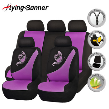 Butterfly Printing Breathable Sandwich Cloth Car Seat Cover Universal Fit Most Vehicles Woman Seat Covers Interior Accessories