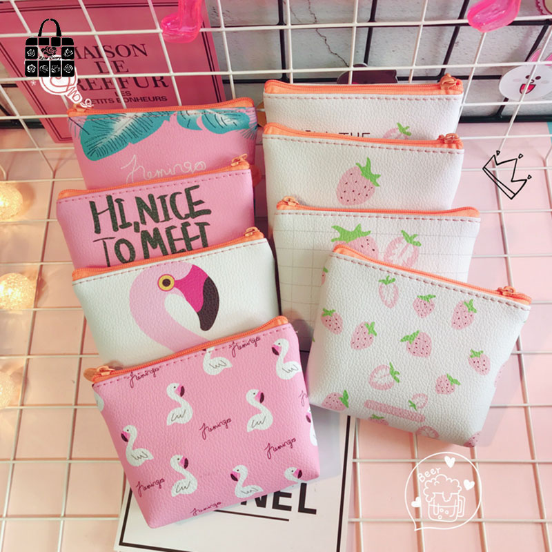 Rose Diary Cute flamingos strawberry High quality girl pu leather zero wallet children purse, women Coin Purses Pouch Case bags new brand mini cute coin purses cheap casual pu leather purse for coins children wallet girls small pouch women bags cb0033