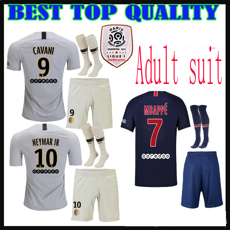 63cfb32f5 Aliexpress.com   Buy 2019 Ligue PSG Home Away Adult suit + socks Soccer  jersey camisetas Neimar JR MBAPPE 18 19 football Clothes Free Shipping from  Reliable ...