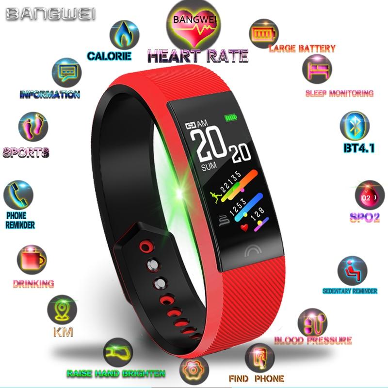 Uhren Vornehm Bangwei 2019 Neue Frauen Smart Sport Uhr Herz Rate Monitor Schrittzähler Bluetooth Verbindung Wasserdichte Uhr Für Android Ios Box