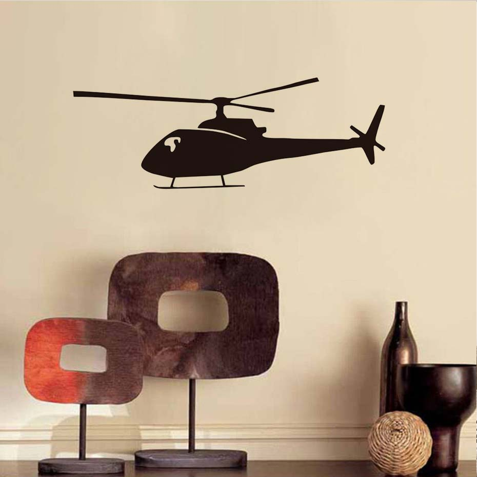Buy helicopter silhouette art wall - Childrens bedroom wall stickers removable ...