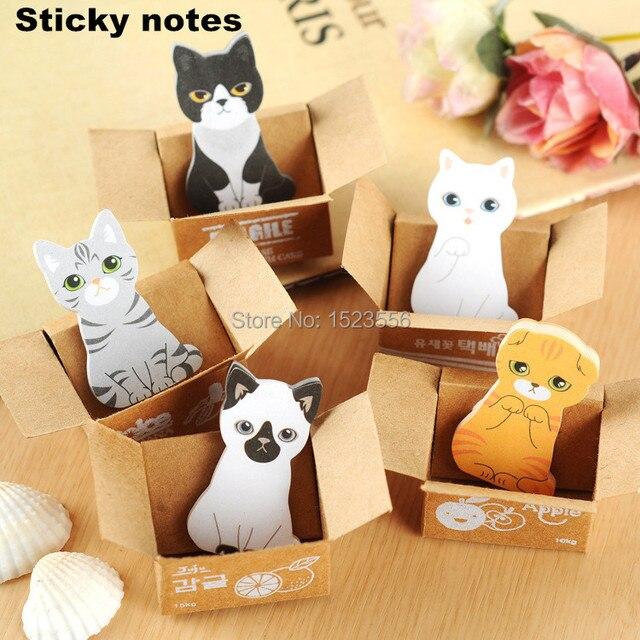 1 unids gato lindo cojines de nota Post it pegatinas Notas adhesivas papel de escribir bloc de Notas oficina papelería Kawaii papeleria suministros Notas