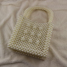 New Beaded Handbags Europe and The United States Fashion Boutique Hand-woven Portable Evening Bag Retro Ethnic White