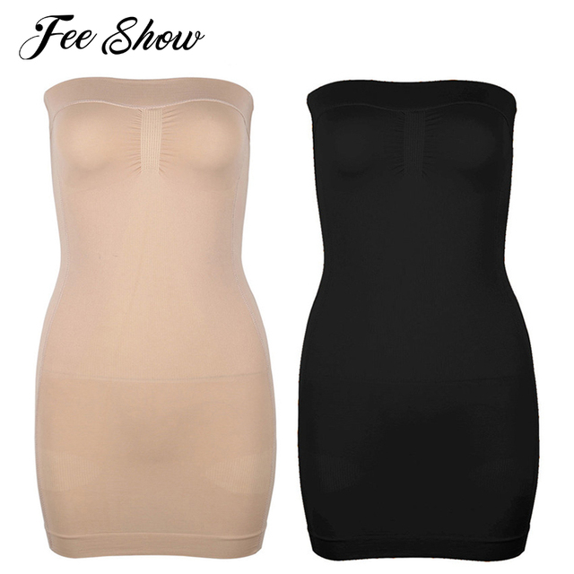 684c6cf68ecd4 Feeshow Women Strapless Control Slip Full Body Shaper Shapewear Seamless Mini  Dress Fashion Women s Sheath Slim