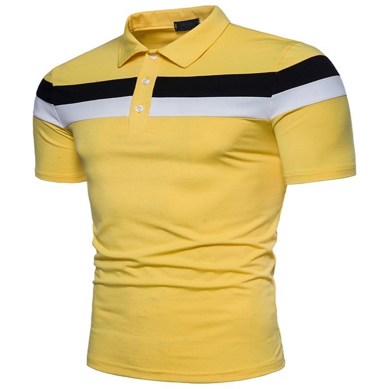2019 summer new men's   polo   shirt casual patchwork cotton   polo   shirt men short-sleeved high volume   polo   shirt men