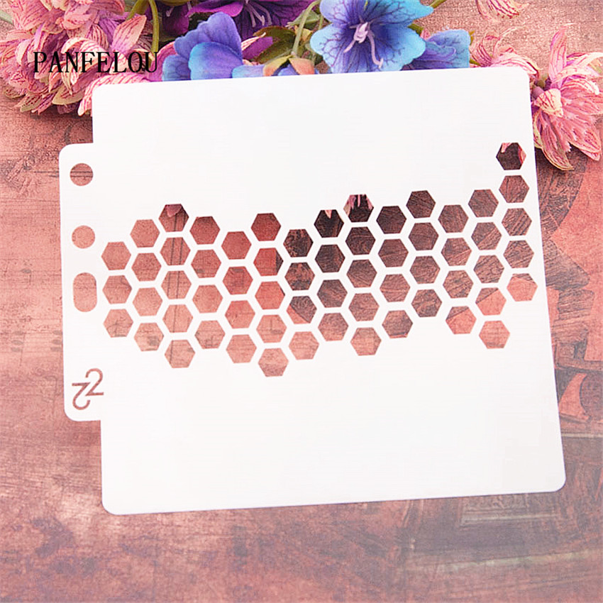 Honeycomb Grid Scrapbook Stencils Spray Plastic Mold Shield DIY Cake Hollow Embellishment Printing Lace Ruler Valentine