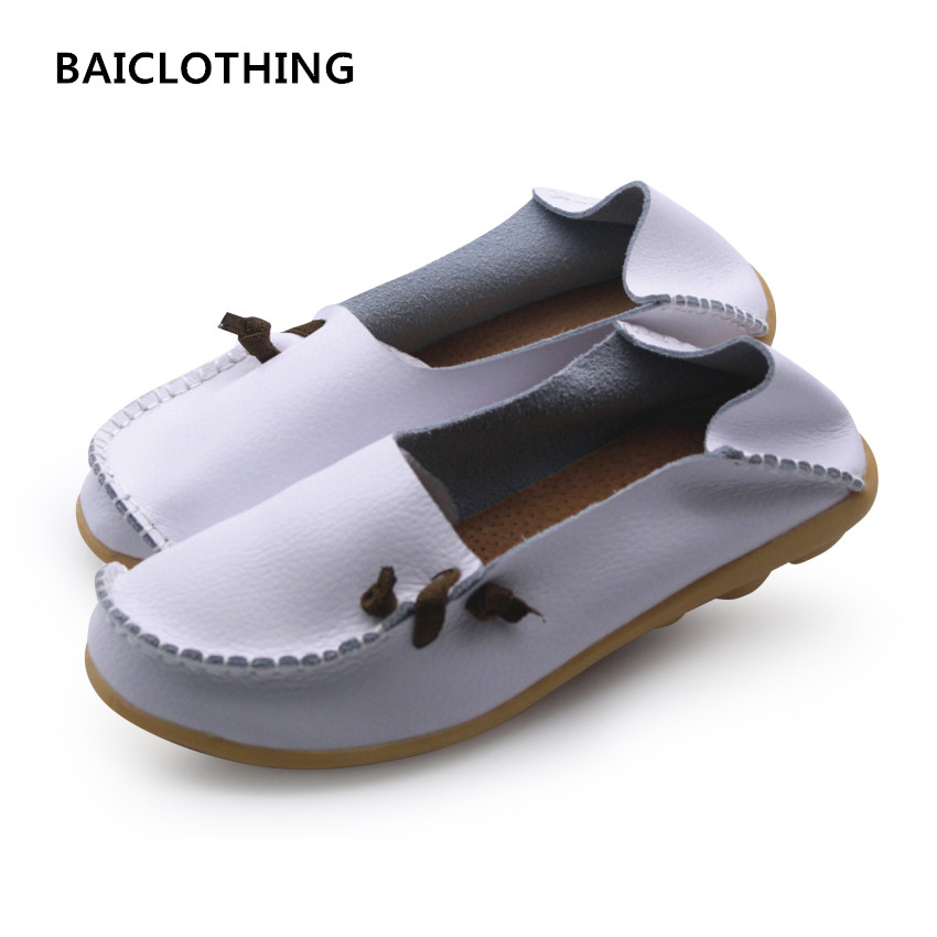 BAICLOTHIGN women cute spring and summer slip on white flat shoes lady real genuine leather casual loafers female casual shoes cresfimix zapatos women cute flat shoes lady spring and summer pu leather flats female casual soft comfortable slip on shoes