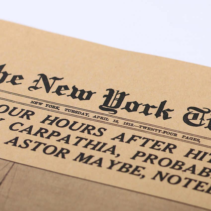 TIE LER, классика, Нью-Йорк Таймс, история, плакат, Титаник, кораблекрушение, старые новости, бумага, ретро, крафт-бумага, украшение дома