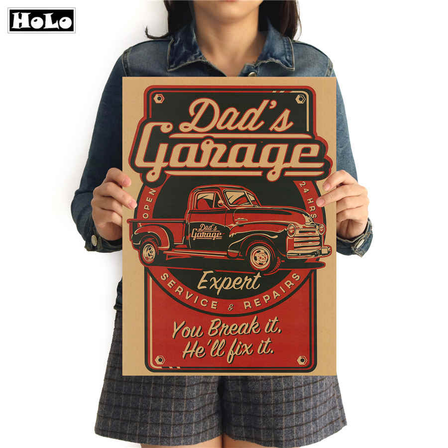 Garage Car Retro painting Vintage poster Krafts paper art Wall Sticker Picture Living Room Cafe Bar pub Decor Home 42x30cm