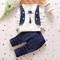 2016 Новой Англии 2-5Y Детская Одежда Устанавливает Мода Весна и Осень 2 шт. Наборы 1 * Толстовки и Swearshirts 1 * брюки Новорожденных Девочек Одежда Наборы