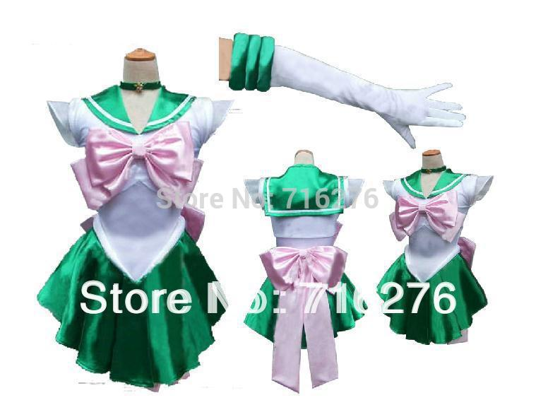 New Anime Pretty Soldier Sailor Moon Sailor Jupiter Japanese Anime Cosplay Costume female halloween party Any Size