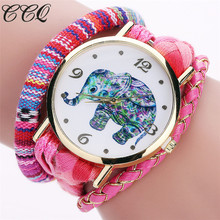 CCQ Brand Bohemian Style Handmade Braided Elephant Watch Fashion Women Rope Bracelet Wrist Watches Relogio Feminino 2079