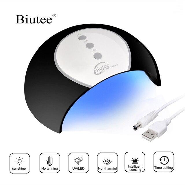 Biutee 24 W UV LED עם USB כבל 8 LED 60 s/90 s/120 s זמן הגדרת חכם חיישן אור מנורת לרפא כל ציפורניים ג 'ל פולני