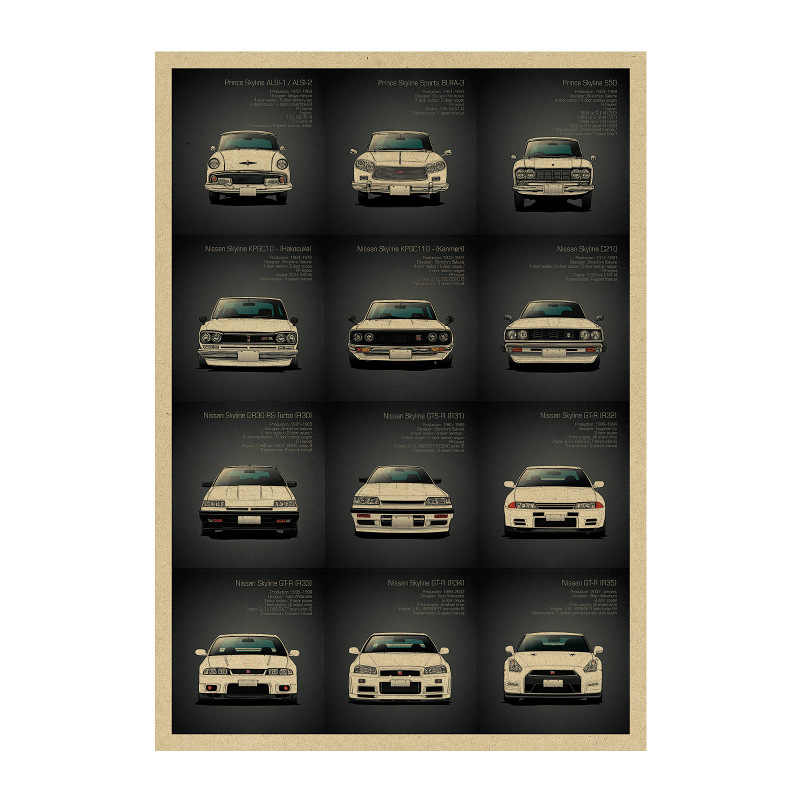 1434 famous roadster/ Performance Car GTR SET 2/kraft paper/ bar poster Wall Stickers/Retro Poster/decorative painting 51x35.5cm