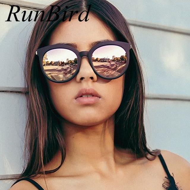 670b32f0ecb49 RunBird 2017 Novo Estilo Oversize Cat Eye Sunglasses Mulheres Moda Verão  Tamanho Grande Moldura de Espelho