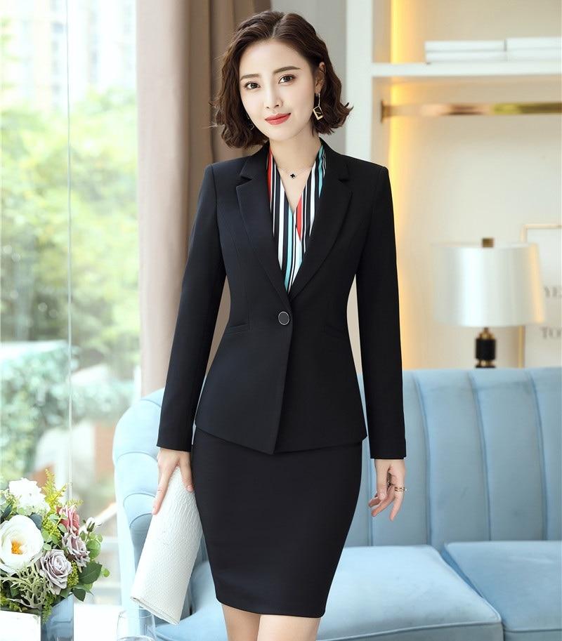 Uniformes de bureau conçoit des costumes d'affaires avec des vestes manteau et jupe pour les femmes OL Styles jupe costumes travail porter des ensembles Blazer