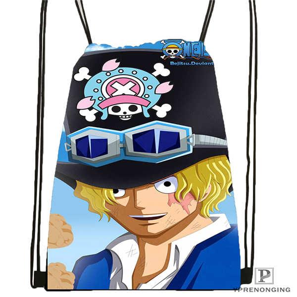 Custom Cartoon one piece 1 Drawstring Backpack Bag Cute Daypack Kids Satchel Black Back 31x40cm 2018612