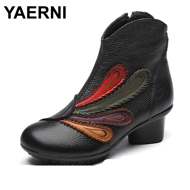 YAERNI 17 New Female Winter Big Size Genuine Leather Ankle Boots For Women Fashion Med Heels Soft Plush Warm Boots Ladies Shoes soft plush big feet pattern winter slippers