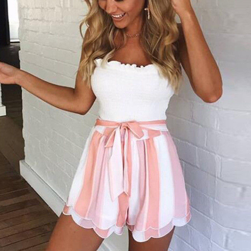 2018 Fashion Summer High Elastic Waist   Shorts   Women Casual Sexy Striped Pleated Skirts   Shorts   Loose Party Chiffon Trousers